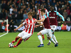 April 16, 2018 - London, England, United Kingdom - Stoke City's Moritz Bauer.during English Premier League match between West Ham United and Stoke City at London stadium, London, England on 16 April 2018. (Credit Image: © Kieran Galvin/NurPhoto via ZUMA Press)