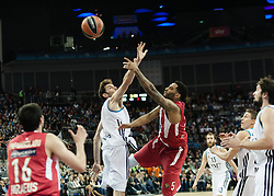 © Licensed to London News Pictures. 12/05/2013. London, UK.  Olympiacos Piraeus (red/white strip) play and beat Real Madrid (white strip) in the Final of the Euroleague Basketball Final Four at The O2 Arena.   The Turkish Airlines Euroleague, commonly known as the Euroleague, is the highest level tier and most important professional club basketball competition in Europe, with teams from up to 18 different countries, members of FIBA Europe. Photo credit : Richard Isaac/LNP
