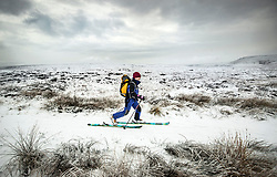 Review of the Year 2017: December: A cross country skier on Hope Woodlands Moor in the Peak District National Park, as heavy snowfall across parts of the UK caused widespread disruption.