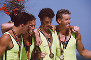 Barcelona Olympic Games 1992, Olympic Regatta - Lake Banyoles<br /> AUS M4-'Oarsome foursome' Andrew Cooper, Michael Scott, Nick Green and James Tomkins <br /> Awards Dock with Gold medals. {Mandatory Credit: © Peter Spurrier/Intersport Images]