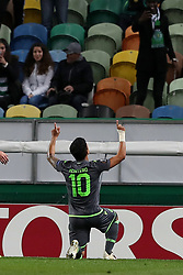 December 13, 2018 - Lisbon, Portugal - Sporting's forward Fredy Montero from Colombia celebrates after scoring a goal during the UEFA Europa League Group E football match Sporting CP vs FC Vorskla Poltava at Alvalade stadium in Lisbon, Portugal on December 13, 2018  (Credit Image: © Pedro Fiuza/NurPhoto via ZUMA Press)