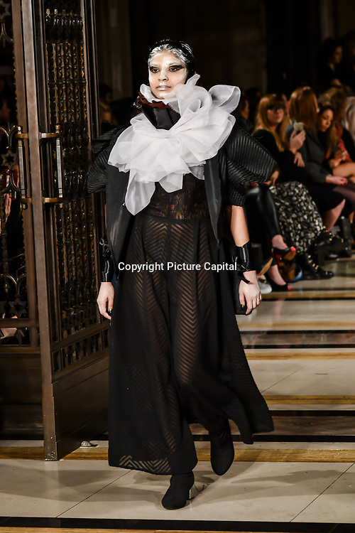Hellavagirl showcases it latest collection at Fashion Scout LFW AW19 at Freemasons' Hall, London, UK. 15 Feb 2019