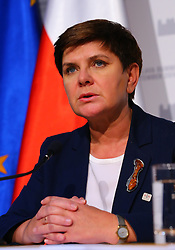 BRATISLAVA, Sept. 17, 2016 (Xinhua) -- Polish Prime Minister Beata Szydlo attends a press conference after an informal European Union (EU) summit in Bratislava, Slovakia, Sept. 16, 2016. EU members on Friday issued a joint declaration, formulating a road map for the bloc to tackle challenges, said Slovak Prime Minister Robert Fico. (Xinhua/Gong Bing) (wtc) (Credit Image: © Gong Bing/Xinhua via ZUMA Wire)