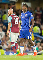 Football - 2016/2017 Premier League - Chelsea V West Ham United. <br /> <br /> Michy Batshuayi of Chelsea with James Collins of West Ham in the background  at Stamford Bridge.<br /> <br /> COLORSPORT/DANIEL BEARHAM