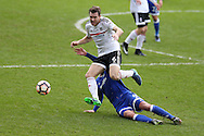 Kevin McDonald of Fulham goes past the tackle from Sean Morrison of Cardiff city. The Emirates FA Cup, 3rd round match, Cardiff city v Fulham at the Cardiff city stadium in Cardiff, South Wales on Sunday 8th January 2017.<br /> pic by Andrew Orchard, Andrew Orchard sports photography.