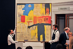 © Licensed to London News Pictures. 05/10/2017. London, UK.  'Remote Commander', 1984, by Jean-Michel Basquiat sold for a hammer price of GBP2,500k (Est. GBP2,600-3,200k) at the Italian and Contemporary Art evening auction at Sotheby's, New Bond Street, coinciding with the opening of the London's Frieze Art Fair. Photo credit : Stephen Chung/LNP