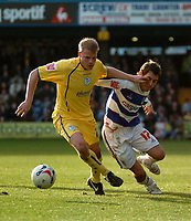 Photo: Tony Oudot.<br />Queens Park Rangers v Sheffield Wednesday. Coca Cola Championship. 10/03/2007.<br />Lee Cook of QPR is held back by Lee Bullen of Sheffield Wednesday