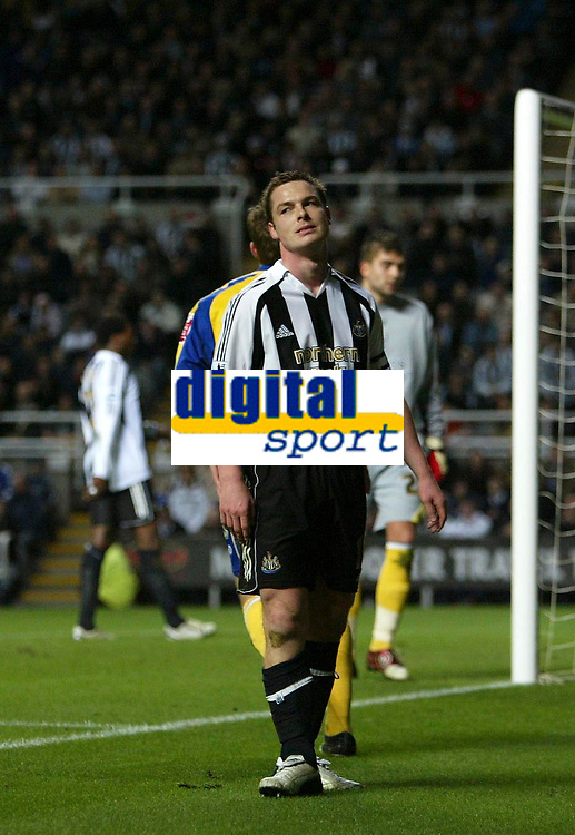 Photo: Andrew Unwin.<br />Newcastle United v Southampton. The FA Cup. <br />18/02/2006.<br />Newcastle's captain-for-the-day, Scott Parker, rues a missed opportunity.