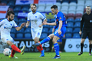 Ian Henderson shoots during the The FA Cup 2nd round match between Rochdale and Portsmouth at Spotland, Rochdale, England on 2 December 2018.