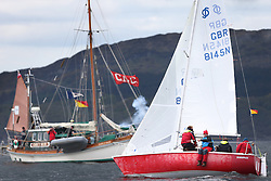 The Clyde Cruising Club's Scottish Series held on Loch Fyne by Tarbert. .Day 3 racing initially postponed awaiting  a light southerly...Sonata, GBR8145N , Scruples , Chris Tait, Helensburgh SC on the one design Course