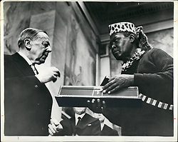 Dec. 12, 1961 - Nobel Peace Prize Presented at Oslo - The Nobel Peace Prize for 1960 was presented this weekend to African leader Albert John Luthuli at Oslo. The award was mede for his work to promote tolerance and understanding among the rases, especially in his own country, South Africa. Photo SHows:- Mr Luthuli Receiving the 1960 Nobel Peace Prize from the President of the Preace Prize Committee, Gunnar Jahn at Oslo (Credit Image: © Keystone Press Agency/Keystone USA via ZUMAPRESS.com)
