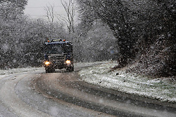 © Licensed to London News Pictures. 03/12/2020. Llanfihangel Nant Melan, Powys, Wales, UK. Vehicles drive along the A44 as heavy snow falls near Llanfihangel Nant Melans in Powys, UK. Photo credit: Graham M. Lawrence/LNP