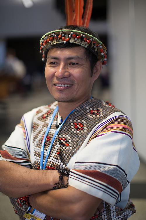 """Teddy Sinacai Tomás is the President of the Native Communities of the Central Forests of Peru and also represents the Association of Indigenous Peoples and the Ashaninka people, one of the largest indigenous groups in Peru with 73,000 people. """"We came to make clear our indigenous proposals for development, relating to the environment. It is time for us to be more visible, or we will be forgotten, and the other development plans, for oil extraction, mining, logging, roads, will destroy the environment where we live, and that the world depends on for its health""""."""