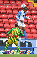 Blackburn Rovers' Ryan Nyambe out jumps West Bromwich Albion's Conor Townsend<br /> <br /> Photographer Dave Howarth/CameraSport<br /> <br /> The EFL Sky Bet Championship - Blackburn Rovers v West Bromwich Albion - Saturday 11th July 2020 - Ewood Park - Blackburn <br /> <br /> World Copyright © 2020 CameraSport. All rights reserved. 43 Linden Ave. Countesthorpe. Leicester. England. LE8 5PG - Tel: +44 (0) 116 277 4147 - admin@camerasport.com - www.camerasport.com