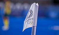 TOKIO - hoekvlag  tijdens de hockey finale mannen, Australie-Belgie (1-1), België wint shoot outs en is Olympisch Kampioen,  in het Oi HockeyStadion,   tijdens de Olympische Spelen van Tokio 2020. COPYRIGHT KOEN SUYK