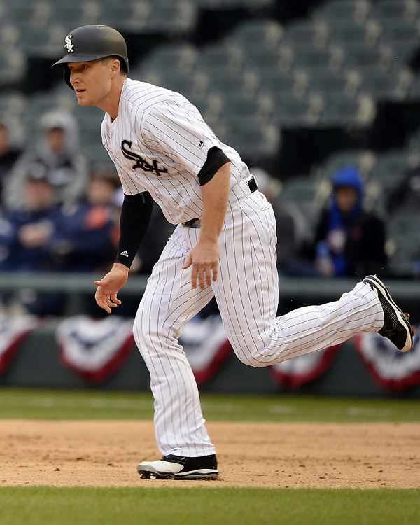 CHICAGO - APRIL 04:  Cody Asche #25 of the Chicago White Sox runs the bases against the Detroit Tigers on April 04, 2017 at Guaranteed Rate Field in Chicago, Illinois.  The Tigers defeated the White Sox 6-3.  (Photo by Ron Vesely)   Subject:  Cody Asche