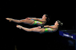 Australia's Annarose Keating and Brittany O'Brien compete in the Women's Synchronised 10m Platform Final at the Optus Aquatic Centre during day seven of the 2018 Commonwealth Games in the Gold Coast, Australia.