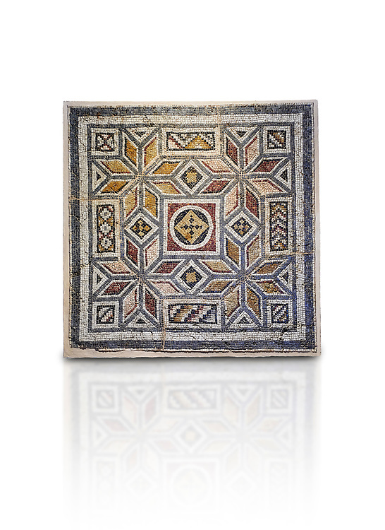 Roman mosaics - Geometric Mosaic. House of Okeanos, Ancient Zeugama, 2nd - 3rd century AD . Zeugma Mosaic Museum, Gaziantep, Turkey.  Against a white background. .<br /> <br /> If you prefer to buy from our ALAMY PHOTO LIBRARY  Collection visit : https://www.alamy.com/portfolio/paul-williams-funkystock/roman-mosaic.html - Type -   Zeugma   - into the LOWER SEARCH WITHIN GALLERY box. Refine search by adding background colour, place, museum etc<br /> <br /> Visit our ROMAN MOSAIC PHOTO COLLECTIONS for more photos to download  as wall art prints https://funkystock.photoshelter.com/gallery-collection/Roman-Mosaics-Art-Pictures-Images/C0000LcfNel7FpLI