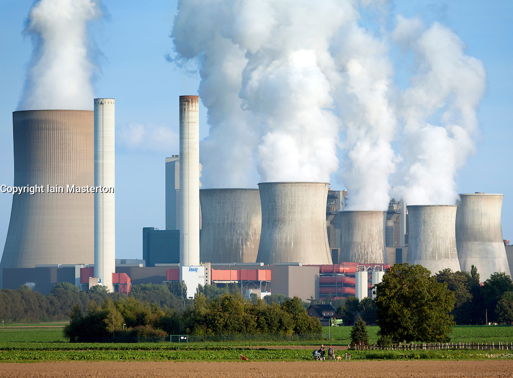 View of Niederaussem coal fired power station in Bergheim district of Germany
