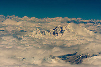 Aerial view of the highest peaks of the Himalayas on a flight between Kathmandu, Nepal and Lhasa, Tibet (China).