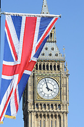 ©  licensed to London News Pictures. . UK.27/04/2011.Royal Wedding Preparations today in London with only two days to go before the big day..Royal Wedding Union Jack and Big Ben..Please see special instructions..Picture credit should read Grant Falvey/LNP......