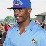 Boxer Zab Judah is seen during the 2013 International Boxing Hall of Fame induction ceremony  on Sunday, June 9, 2013 in Canastota, New York.  (AP Photo/Alex Menendez)