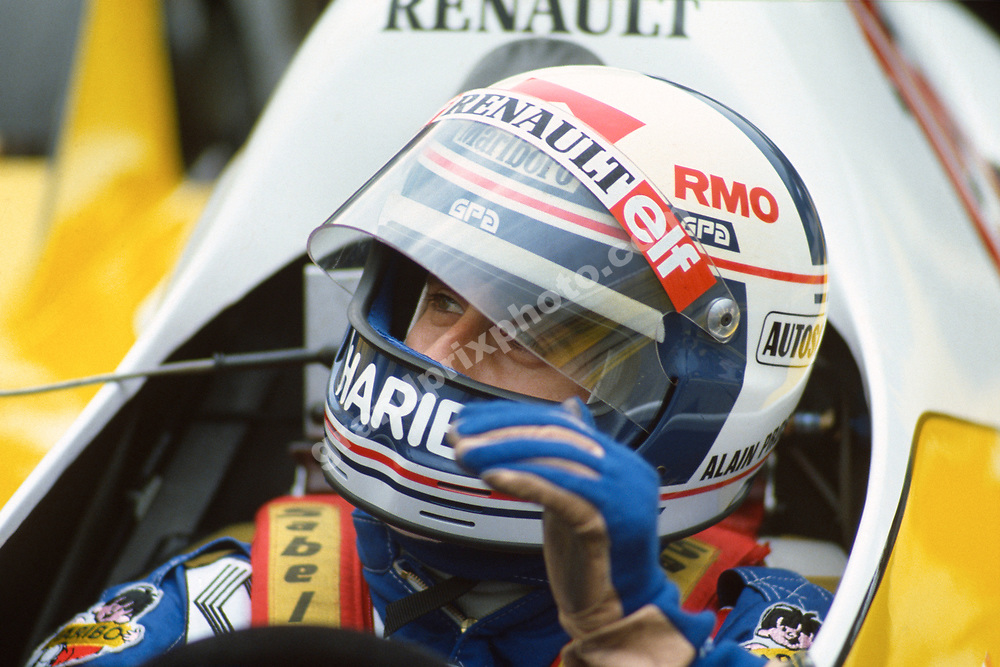 Alain Prost (Renault) in the pits with his helmet on during practice for the 1983 Austrian Grand Prix at the Osterreichring. Photo: Grand Prix Photo