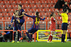 FC Barcelona's Jennifer Hermoso celebrates with her team mates after scoring. - Photo mandatory by-line: Dougie Allward/JMP - Mobile: 07966 386802 - 13/11/2014 - SPORT - Football - Bristol - Ashton Gate - Bristol Academy Womens FC v FC Barcelona - Women's Champions League