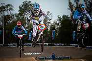 #118 (SORIANO Florencia Ayelen) ARG and #446 (DIAZ Gabriela Maria) ARG at the 2014 UCI BMX Supercross World Cup in Santiago Del Estero, Argentina.