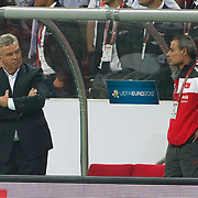 Turkey's coach Guus HIDDINK (L) during their UEFA EURO 2012 Qualifying round Group A matchday 19 soccer match Turkey betwen Germany at TT Arena in Istanbul October 7, 2011. Photo by TURKPIX