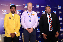 December 18, 2018 - Jaipur, Rajasthan, India - Chennai Super Kings bowling coach Laxmipathy Balaji (L), Sunrisers Hyderabad coach Tom Moody (C) and the Board of Control for Cricket in India (BCCI) Treasurer Anirudh Choudhary (R) attend a press conference for the Indian Premier League 2019 auction in Jaipur on December 18, 2018, as teams prepare their player rosters ahead of the upcoming Twenty20 cricket tournament next year. The 2019 edition of the IPL -- one of the world's most-watched sporting events attracting the world's top stars -- is set to take place in April and May next year.(Photo By Vishal Bhatnagar/NurPhoto) (Credit Image: © Vishal Bhatnagar/NurPhoto via ZUMA Press)