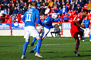 Portsmouth forward Oliver Hawkins (9) hits the ball over the bar during the EFL Sky Bet League 1 match between Accrington Stanley and Portsmouth at the Fraser Eagle Stadium, Accrington, England on 27 October 2018.