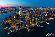 Aerial view of lower Manhattan, New York City at dusk,photographed from a helicopter.