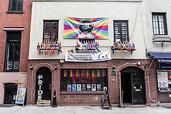 August 6, 2017 - New York City, New York, United States of America - Corner of Stonewall Place, near the Stonewall Inn, where riots took place in June of 1969 due to alleged targeting for raids.  The subsequent protests in Greenwich Village are considered to be the first gay rights protests and where the pride movement began.  More recently, a February 2017 protest against the Muslim ban and against attacks against the LGBTQ community resulted in arrests of activists known as the ''Stonewall 4''.  Their court case took place on August 7th, 2017. (Credit Image: © Sachelle Babbar via ZUMA Wire)