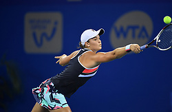 WUHAN, Sept. 30, 2017 Ashleigh Barty of Australia returns the ball during the singles final match against Caroline Garcia of France at 2017 WTA Wuhan Open in Wuhan, capital of central China's Hubei Province, on Sept. 30, 2017. Caroline Garcia won 2-1. wdz) (Credit Image: © Cheng Min/Xinhua via ZUMA Wire)