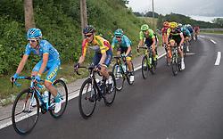 08.07.2017, Wels, AUT, Ö-Tour, Österreich Radrundfahrt 2017, 6. Etappe von St. Johann/Alpendorf nach Wels (203,9 km), im Bild Stefan Denifl (AUT, Team Aqua Blue Sport) im gelben Trikot im Anstieg zum Hochlecken, Oberösterreich // Stefan Denifl of Austria (Aqua Blue Sport) in the yellow jersey climbs the Hochlecken during the 6th stage from St. Johann/Alpendorf to Wels (203,9 km) of 2017 Tour of Austria. Wels, Austria on 2017/07/08. EXPA Pictures © 2017, PhotoCredit: EXPA/ Reinhard Eisenbauer