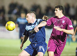 Forfar Athletic's David Cox and Arbroath's Jassem Sukar. Forfar Athletic 0 v 1 Arbroath, Scottish Football League Division Two game played 10/12/2016 at Station Park.