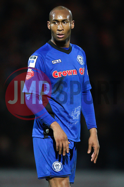 Rochdale's Calvin Andrew  - Photo mandatory by-line: Matt McNulty/JMP - Mobile: 07966 386802 - 26/01/2015 - SPORT - Football - Rochdale - Spotland Stadium - Rochdale v Stoke City - FA Cup Fourth Round