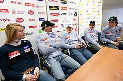 Ana Drev, Ales Gorza, Bernard Vajdic, Janez Jazbec and Miha Kuerner during press conference of Slovenian Alpine Ski team team before FIS Ski World Cup Opening race in Soelden (AUT) on October 18, 2010 in Ljubljana, Slovenia. (Photo by Vid Ponikvar / Sportida)