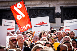October 6, 2018 - Paris, Ile-de-France (region, France - Hundreds of demonstrators in support of Aquarius The NGO SOS Mediterranean have called for a-citizen mobilization- to allow his ship to continue its rescue mission, Republic Square. (Credit Image: © Sadak Souici/Le Pictorium Agency via ZUMA Press)