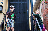 Mason and Emily Farley prepare for the first day of the 2012-2013 school year at Melrose Leadership Academy in Oakland, California.