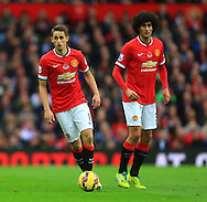 Adnan Januzaj and Marouane Fellaini of Manchester United - Manchester United vs. Crystal Palace - Barclay's Premier League - Old Trafford - Manchester - 08/11/2014 Pic Philip Oldham/Sportimage
