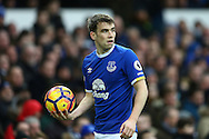 Seamus Coleman of Everton looks to take a throw in. Premier league match, Everton v Manchester City at Goodison Park in Liverpool, Merseyside on Sunday 15th January 2017.<br /> pic by Chris Stading, Andrew Orchard sports photography.