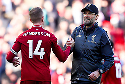 Liverpool manager Jurgen Klopp celebrates victory over Fulham with Jordan Henderson of Liverpool - Mandatory by-line: Robbie Stephenson/JMP - 11/11/2018 - FOOTBALL - Anfield - Liverpool, England - Liverpool v Fulham - Premier League
