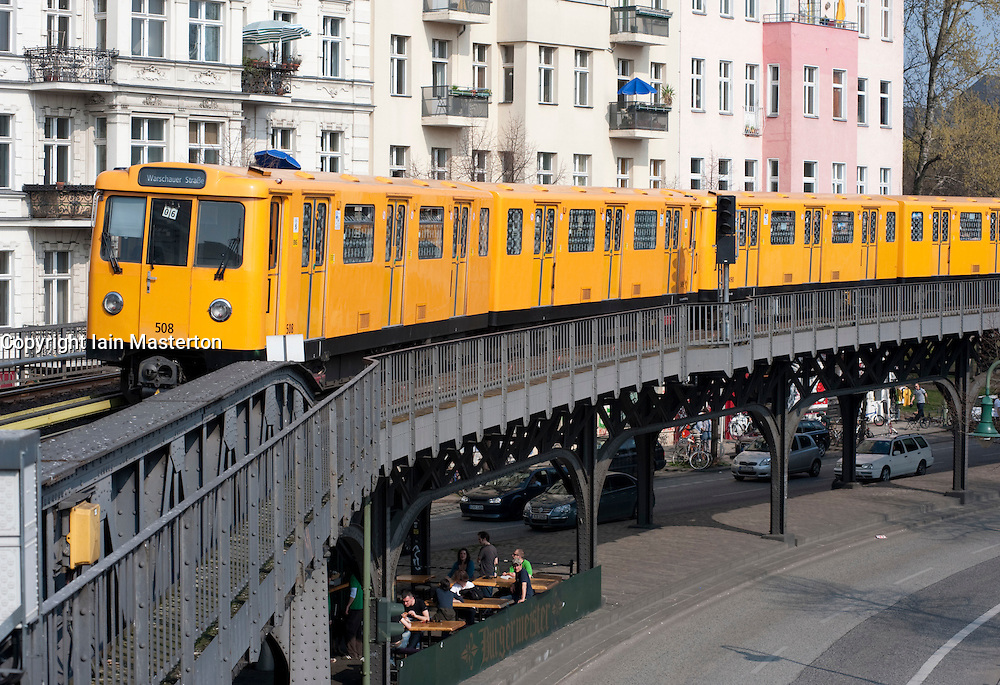 Elevated section of Berlin S Bahn railway in Kreuzberg Berlin 2009