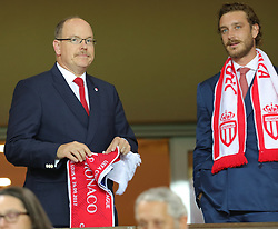 Prince Albert of Monaco and his nephew Pierre Casiraghi watching the football game between AS Monaco and FC Porto at the stadium Louis II in Monaco on September 26, 2017 . Photo by Patrick Clemente/ABACAPRESS.COM