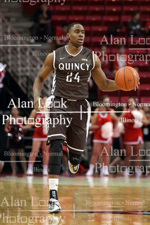 29 December 2014:  Godson Eneogwe during an NCAA non-conference interdivisional exhibition game between the Quincy University Hawks and the Illinois State University Redbirds at Redbird Arena in Normal Illinois.