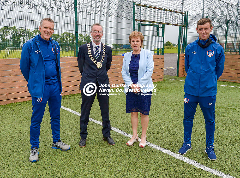 From left: Jonathan Hill, FAI Chief Executive Officer; Padraig  Fitrzsimons, Mayor of Navan;  Jackie Maguire<br /> Chief Executive at Meath County Council and Richie Smyth, Football Developement Officer for Meath,  at the FAI Summer Soccer Schools at MDL, Navan.<br /> <br /> Photo: GERRY SHANAHAN-WWW.QUIRKE.IE<br /> <br /> 01-07-2021