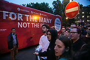 Labour and Jeremy Corbyn supporters gather outside the Union Chapel, June 6th 2017 in Islington, London. It is Jeremy Corbyns 90th and last stop on the general election campaign and thousands of supporters have turned out to greet  him. The venue is full and people gather outside hoping to get a glimps of him.