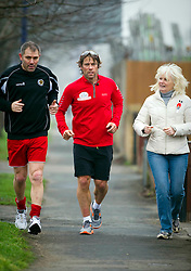 © Licensed to London News Pictures. 31/01/2011 Dartford, UK. Comedian John Bishop starts the final day of his Sport Relief Triathalon in Dartford, Kent. .Photo credit : Simon Jacobs/LNP